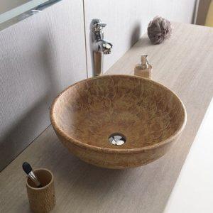 PRIORI umywalka ceramiczna, średnica 42cm, brązowa z wzorem