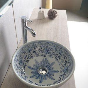 PRIORI umywalka ceramiczna, średnica 42cm, biała z niebieskim wzorem