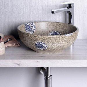 PRIORI umywalka ceramiczna, średnica 42cm, kamień z niebieskim wzorem