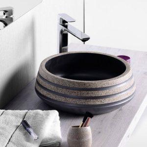 PRIORI umywalka ceramiczna, średnica 41cm, czarny/kamień