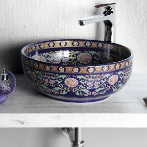 PRIORI umywalka ceramiczna, średnica 40,5cm, fioletowy z ozdobami